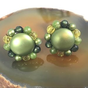 Vintage Green Beaded Botton Clip Earrings